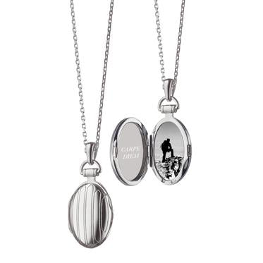 "MONICA RICH KOSANNPETITE PINSTRIPE LOCKET IN SILVER Sterling Silver 3/4"" locket necklace for two photos"