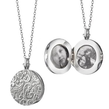 "MONICA RICH KOSANN FLORAL PATTERN LOCKET Sterling Silver Round 1"" Locket for two photos in floral pattern, 30"" chain"