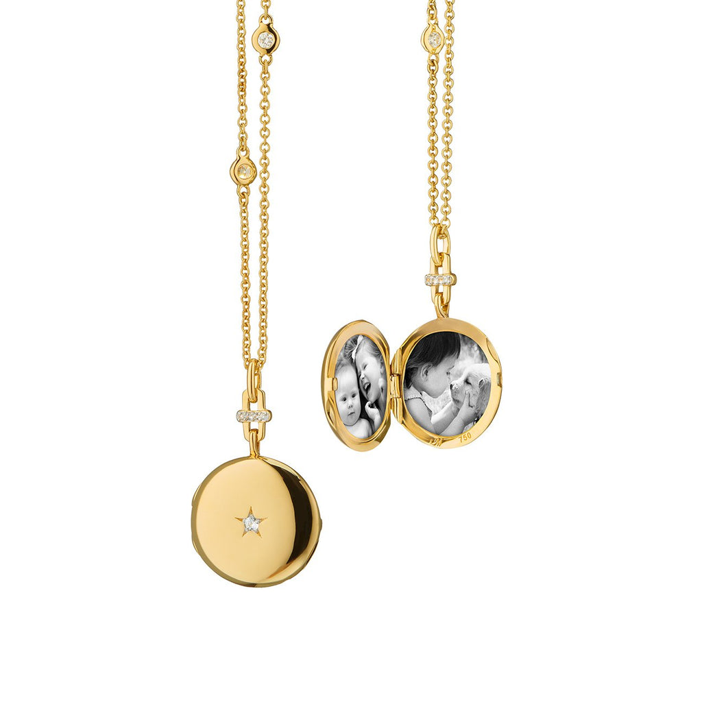 "MONICA RICH KOSANN TWINKLE STAR 18K YELLOW GOLD ROUND LOCKET W/CENTER STAR DIAMOND, 17"" CABLE DIAMOND BY THE YARD CHAIN"