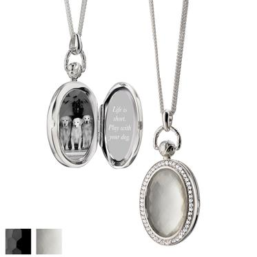 "MONICA RICH KOSANN OVAL POCKET WATCH LOCKET Sterling Silver 1.25"" locket necklace for two photos, 32"" chain"