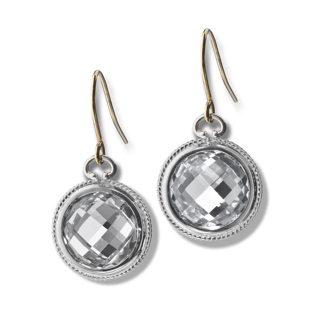 MONICA RICH KOSANN STERLING SILVER ROCK CRYSTAL DROP EARRINGS