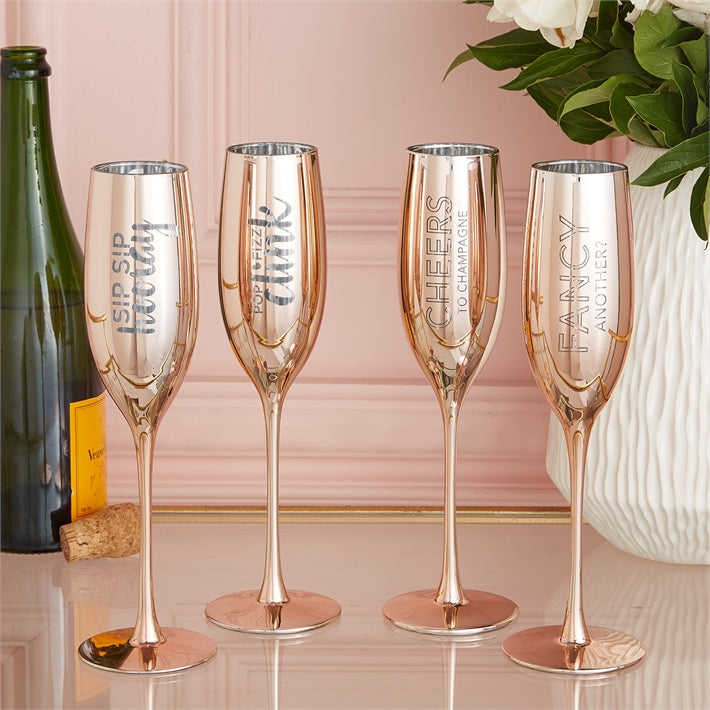 TWO'S COMPANY SET OF 2 METALLIC CHAMPAGNE FLUTES