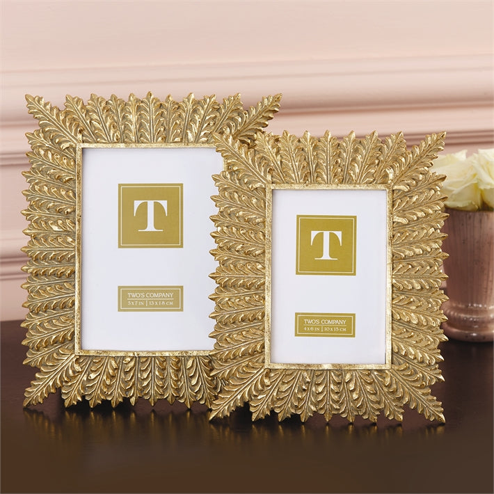 TWO'S COMPANY GOLD LEAF 5*7 FRAME