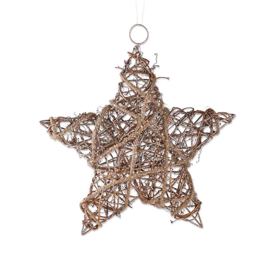 "K&K INTERIORS 12"" GLITTERED RATTAN/SISAL STAR ORNAMENT"