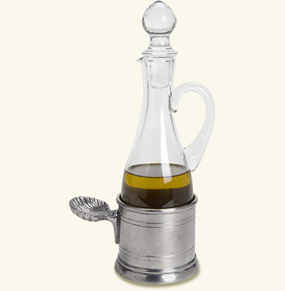 MATCH PEWTER OIL CRUET WITH SHELL HANDLE
