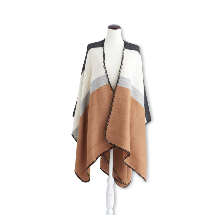 K&K INTERIORS RUST/GREY/CREAM COLOR BLOCK CAPE WITH STITCHED EDGES