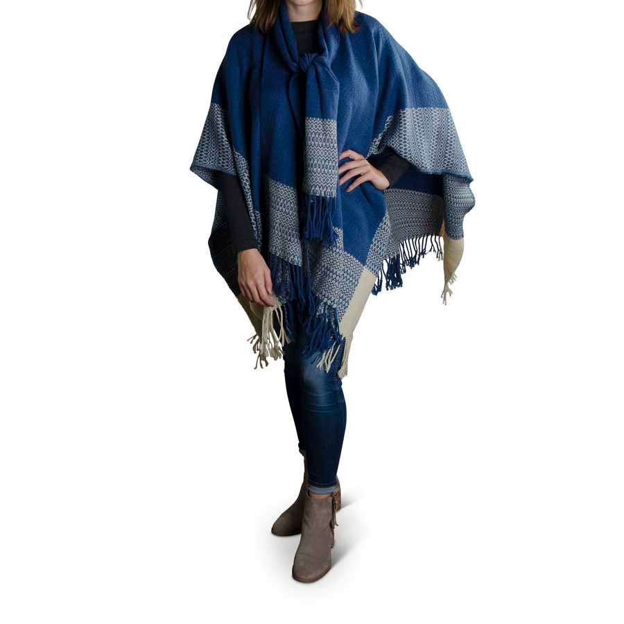 K&K INTERIORS BLUE CREAM SHAWL WITH ATTACHED SCARF