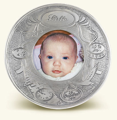 MATCH PEWTER ROUND BABY FRAME