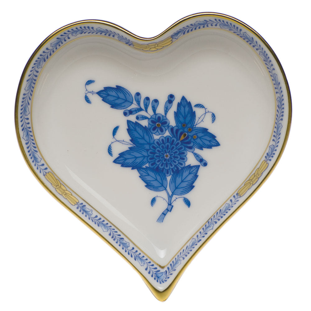 HEREND CHINESE BOUQUET BLUE HEART DISH