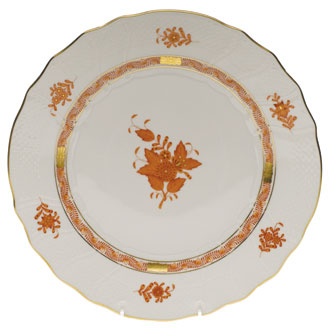 HEREND CHINESE BOUQUET DINNER PLATE, RUST