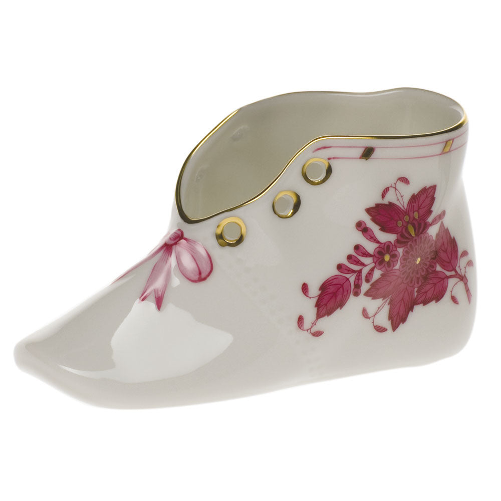 HEREND CHINESE BOUQUET RASPBERRY BABY SHOE