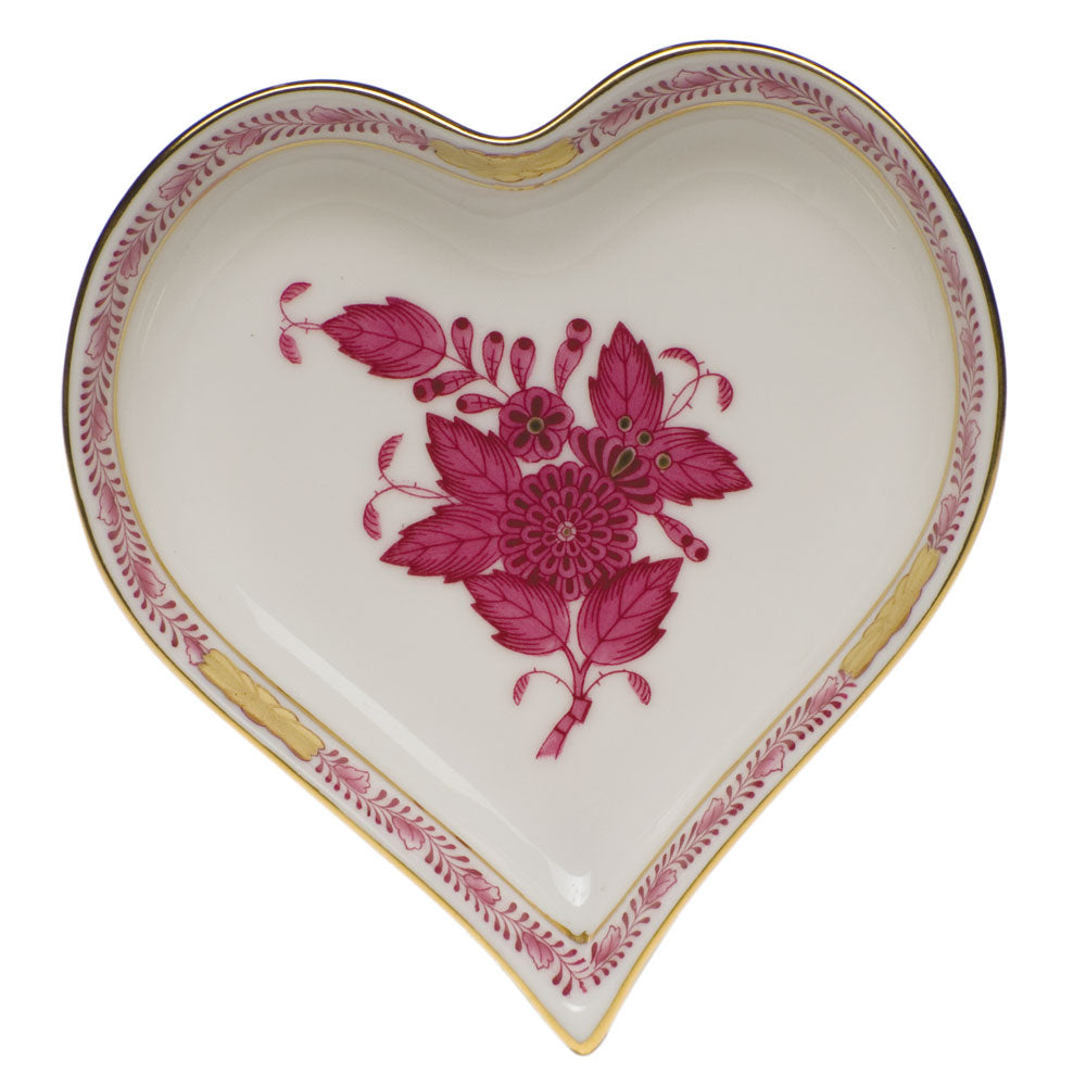HEREND CHINESE BOUQUET RASPBERRY HEART DISH