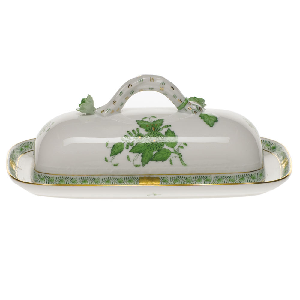 HEREND CHINESE BOUQUET GREEN BUTTER DISH W/BRANCH