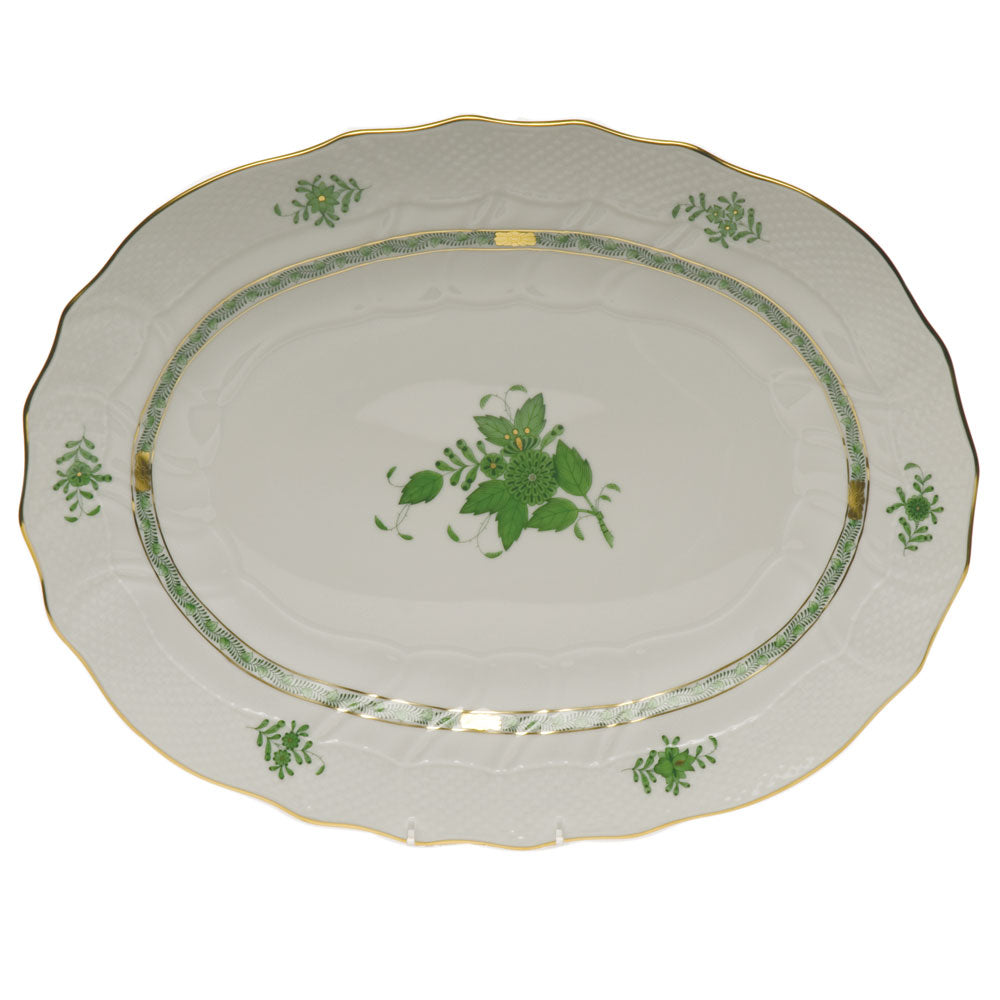 "HEREND CHINESE BOUQUET GREEN 17"" OVAL PLATTER"