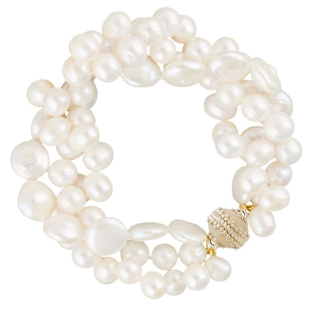 CLARA WILLIAMS CLARA FRESHWATER MULTI PEARL BRACELET, 3 STRANDS, 8""