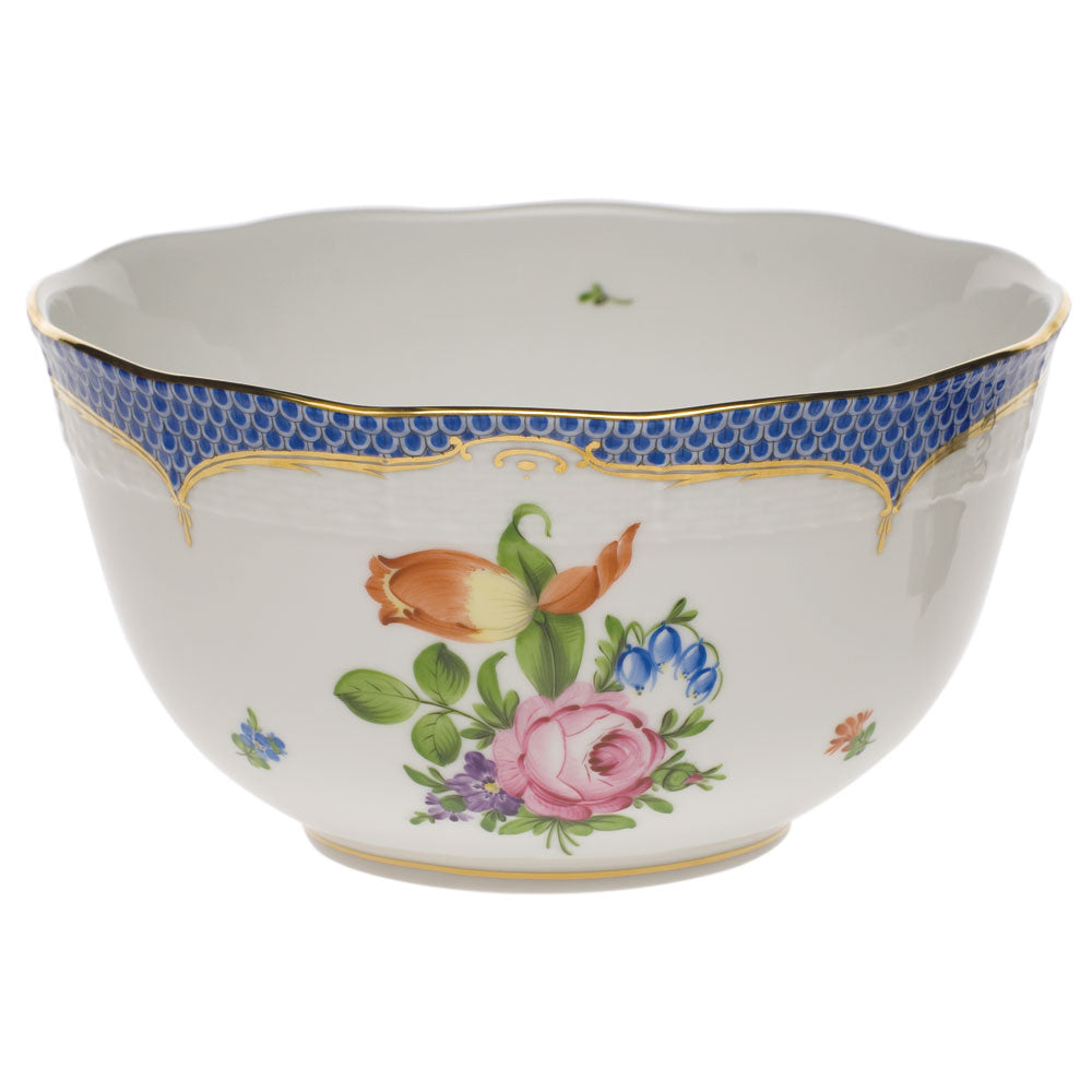 HEREND PRINTEMPS BLUE BORDER ROUND BOWL