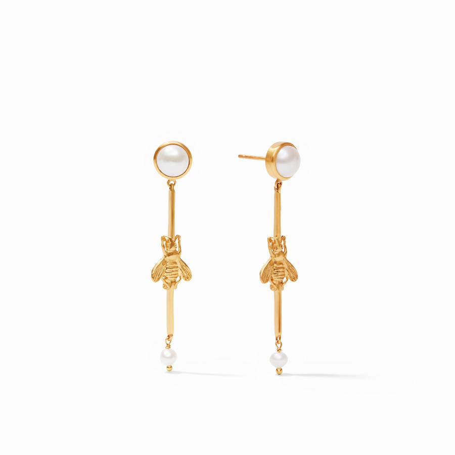 JULIE VOS BEE DUSTER EARRING, PEARL