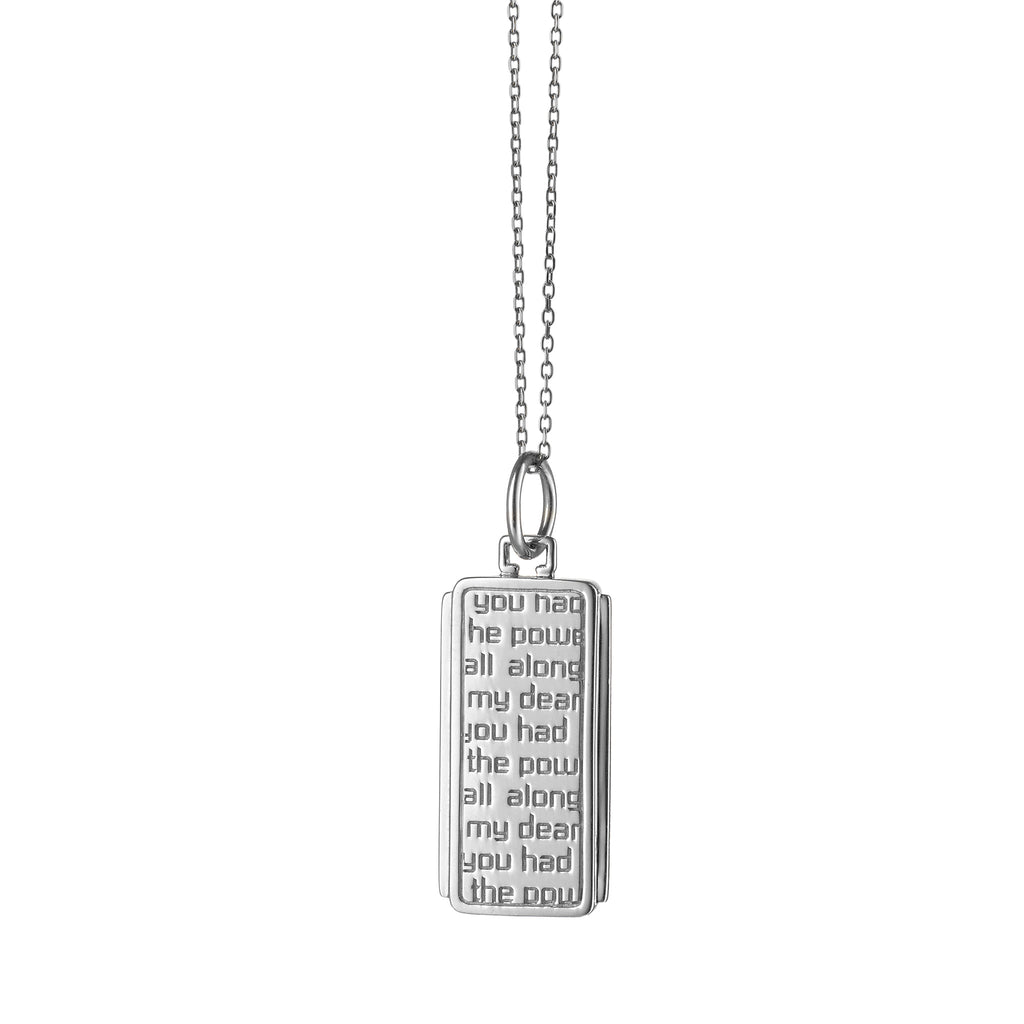 "MONICA RICH KOSANN STERLING SILVER DOROTHY MEDALLION, ""YOU HAD THE POWER ALL ALONG MY DEAR"" ON 18"" MINI DIAMOND CUT CHAIN"