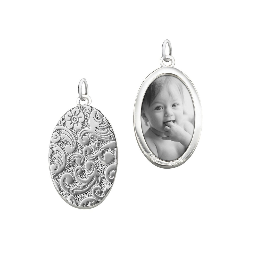 MONICA RICH KOSANN OVAL HALF LOCKET, STERLING SILVER