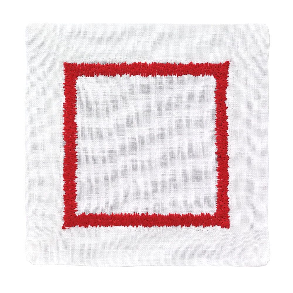 BODRUM FLAME COCKTAIL NAPKIN SET OF 4, RED