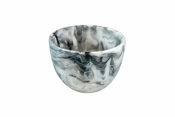 NASHI HOME RESIN DEEP SMALL BOWL, BLACK SWIRL