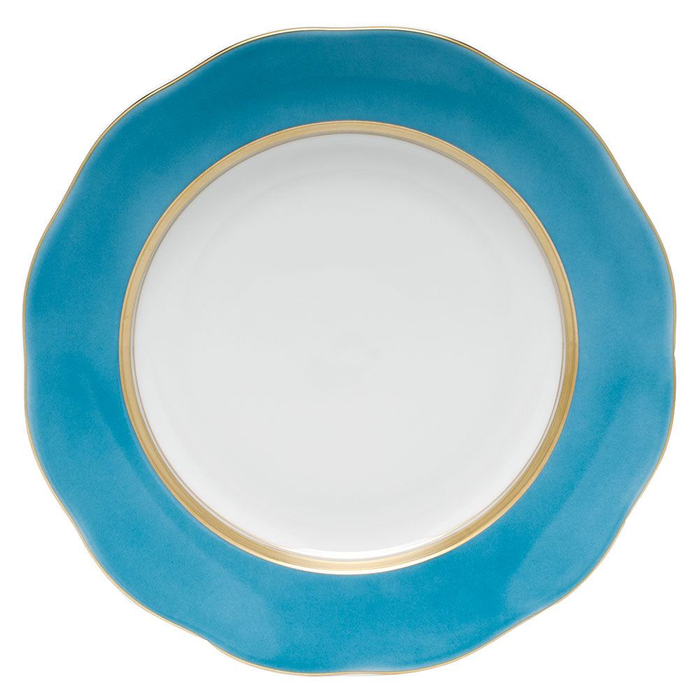 HEREND SILK RIBBON TURQUOISE DESSERT PLATE