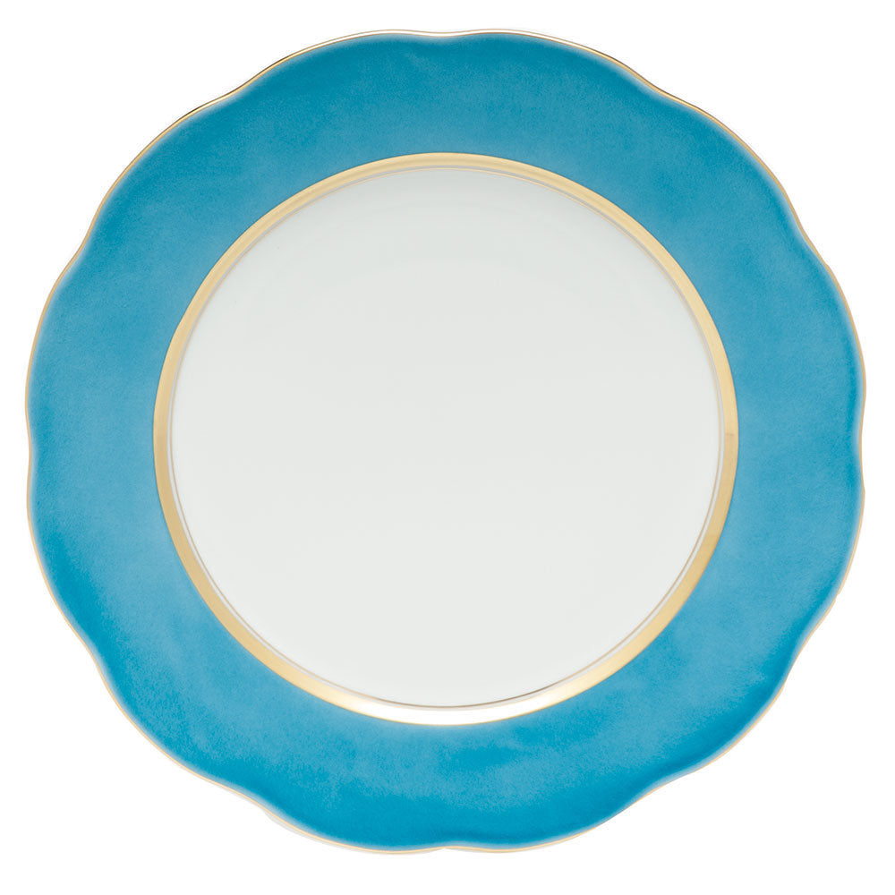 HEREND SILK RIBBON TURQUOISE SERVICE PLATE