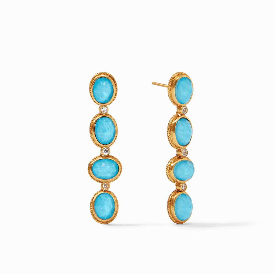 JULIE VOS CALYPSO STATEMENT EARRING, IRIDESCENT PACIFIC BLUE