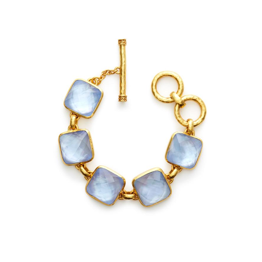 JULIE VOS CATALINA GOLD IRIDESCENT CHALCEDONY STONE BRACELET