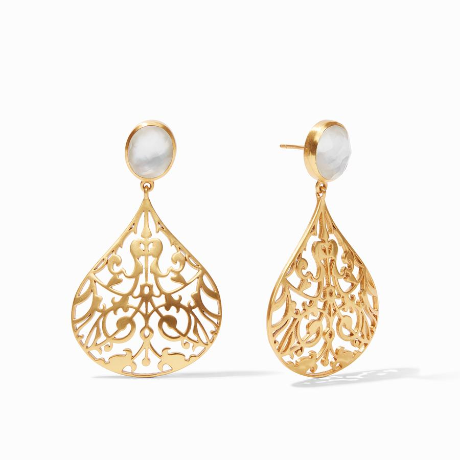 JULIE VOS CHANTILLY EARRINGS, IRIDESCENT CLEAR CRYSTAL