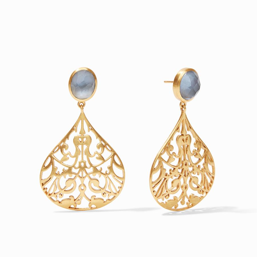 JULIE VOS CHANTILLY EARINGS, IRIDESCENT SLATE BLUE