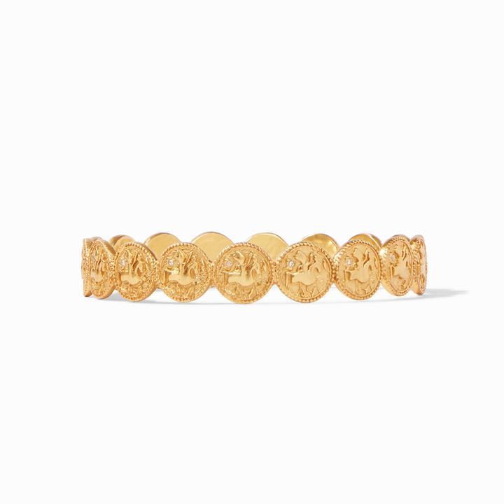 JULIE VOS COIN GOLD BANGLE, CUBIC ZIRCONIA, MEDIUM