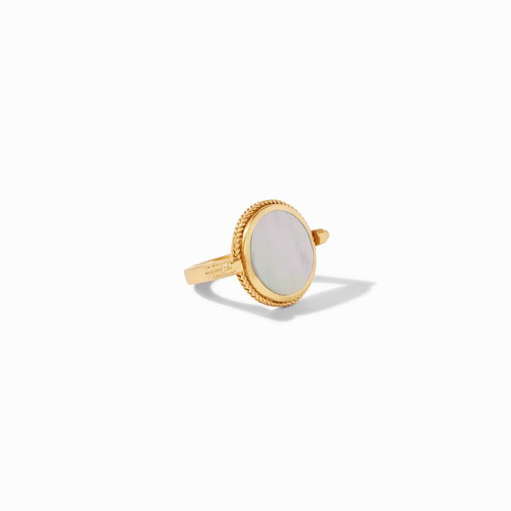 JULIE VOS COIN REVOLVING GOLD RING, MOTHER OF PEARL, SIZE 7
