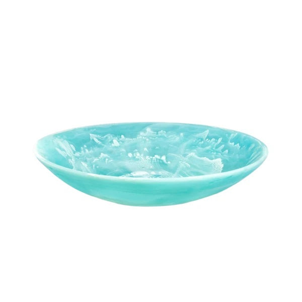 NASHI HOME RESIN EVERYDAY LARGE BOWL, AQUA SWIRL