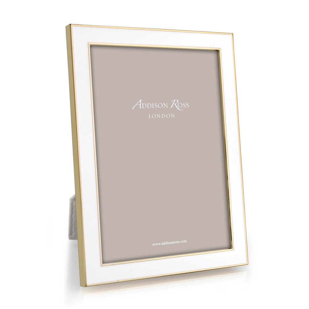 ADDISON ROSS WHITE & GOLD ENAMEL FRAME, 5*7