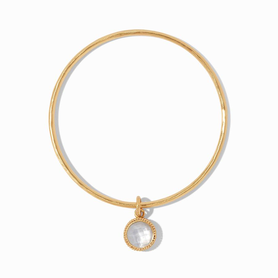 JULIE VOS FLEUR DE LIS BANGLE, IRIDESCENT CLEAR CRYSTAL, MEDIUM