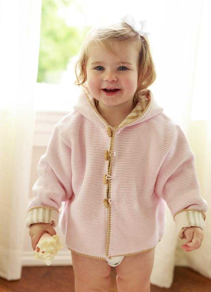 A SOFT IDEA COTTON SEEDSTITCH PINK HOODIE WITH PLAID LINING
