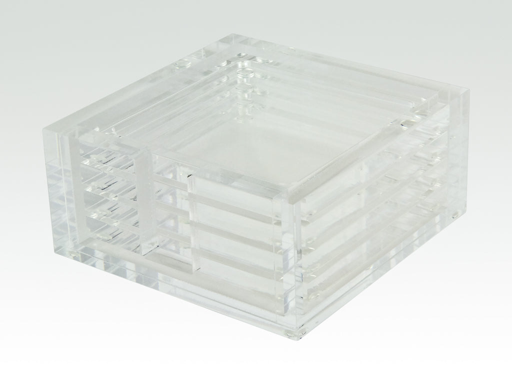 TIZO DESIGN LUCITE COASTER SET/4, CLEAR