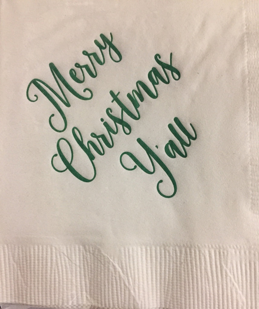 DONOVAN DESIGNS MERRY CHRISTMAS Y'ALL COCKTAIL NAPKINS
