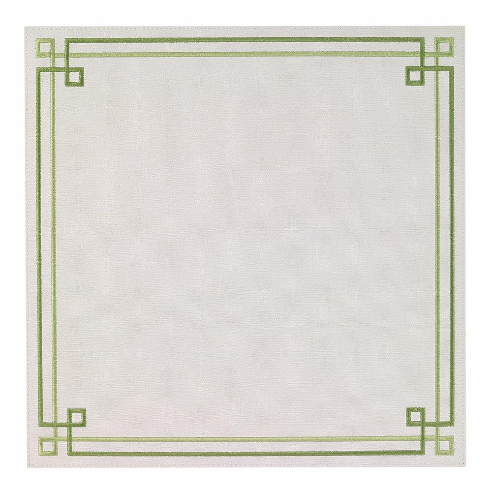 BODRUM LINEN LINK WHITE/GREEN PLACEMAT, SET OF 2