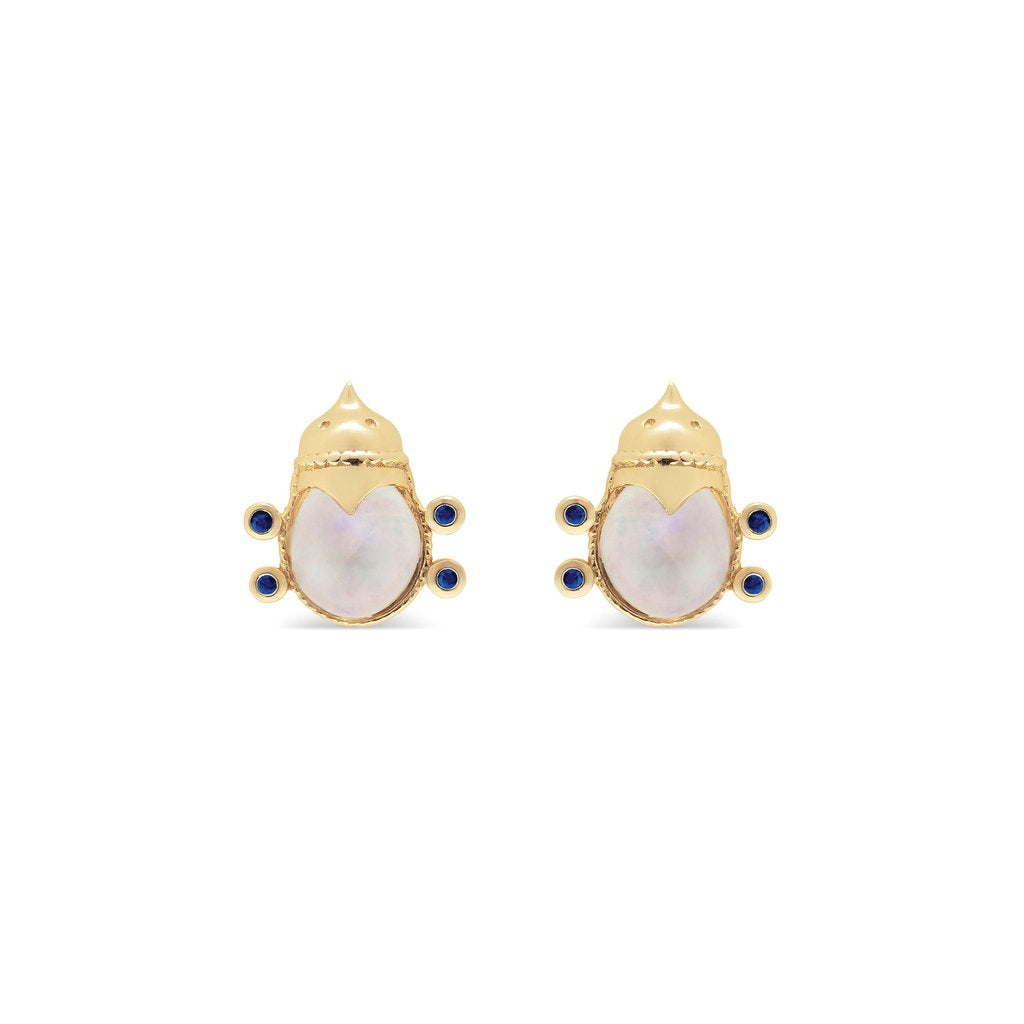 CAPUCINE DE WULF LOVEBUG STUD EARRINGS, BLUE MOON & BLUE SAPPHIRE