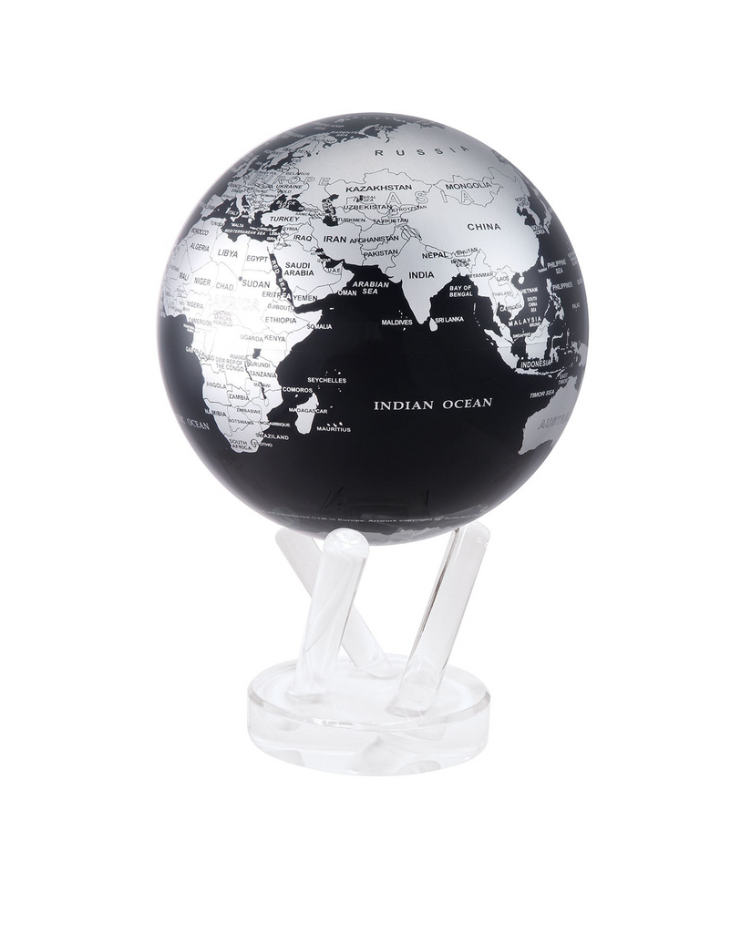 "MOVA 4.5"" SILVER/BLACK GLOBE WITH ACRYLIC BASE"