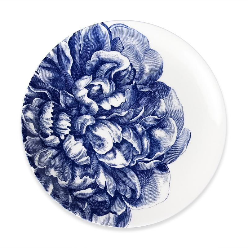 CASKATA PEONY BLUE COUPE LIMITED EDITION DINNER PLATE