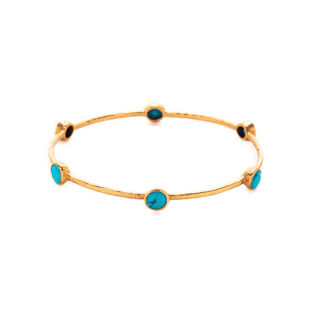 JULIE VOS MILANO 6 STONE TURQUOISE MEDIUM BANGLE