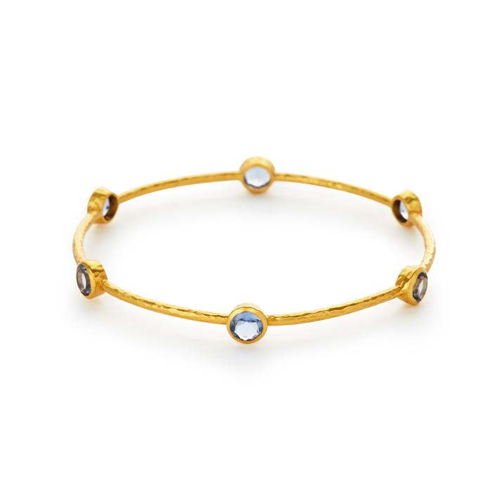 JULIE VOS MILANO GOLD 6 STONE BANGLE, CLEAR CHALCEDONY BLUE, MEDIUM