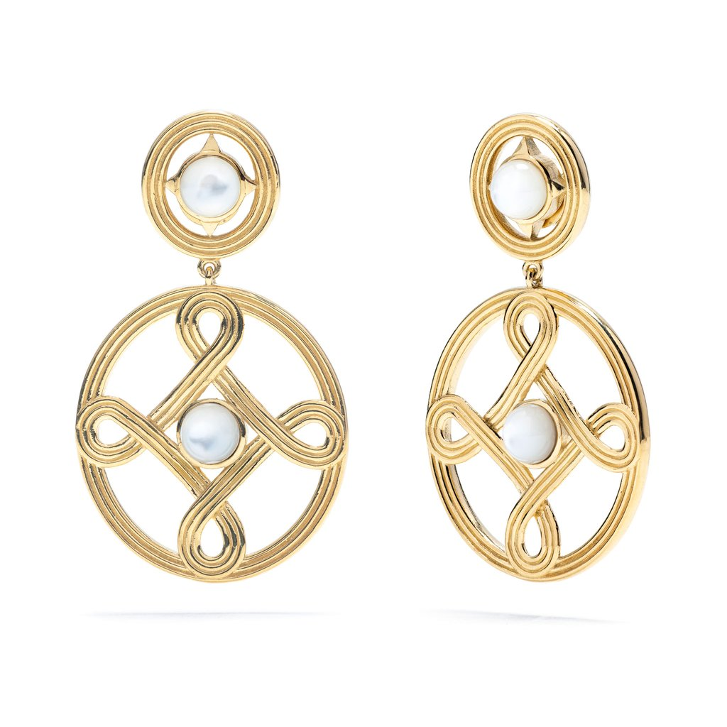 CAPUCINE DE WULF MONIQUE DOUBLE EARRINGS IN 18K GOLD PLATE WITH MOTHER OF PEARL EARRINGS