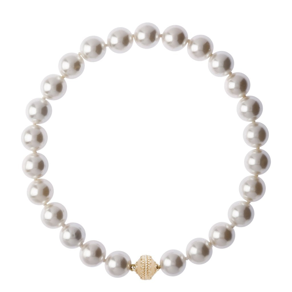"CLARA WILLIAMS VICTOIRE GRAY SHELL PEARL 16MM NECKLACE, 1 STRAND, 16.5""L"