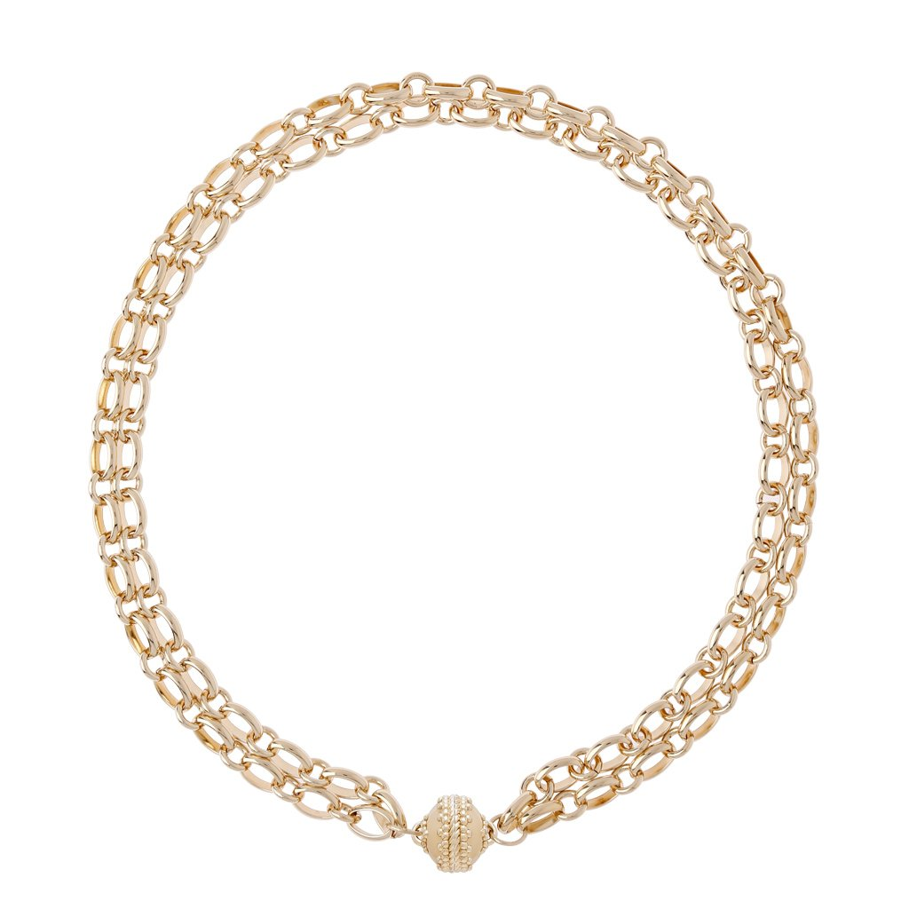 CLARA WILLIAMS MADISON 14K GOLD NECKLACE/2 STRAND, 16.5""