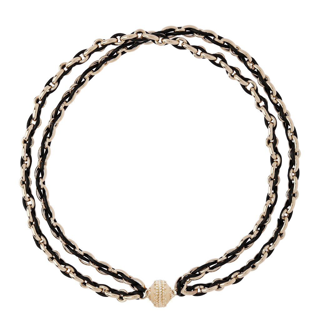 CLARA WILLIAMS RANDOLPH BLACK/14K 2 STRAND NECKLACE