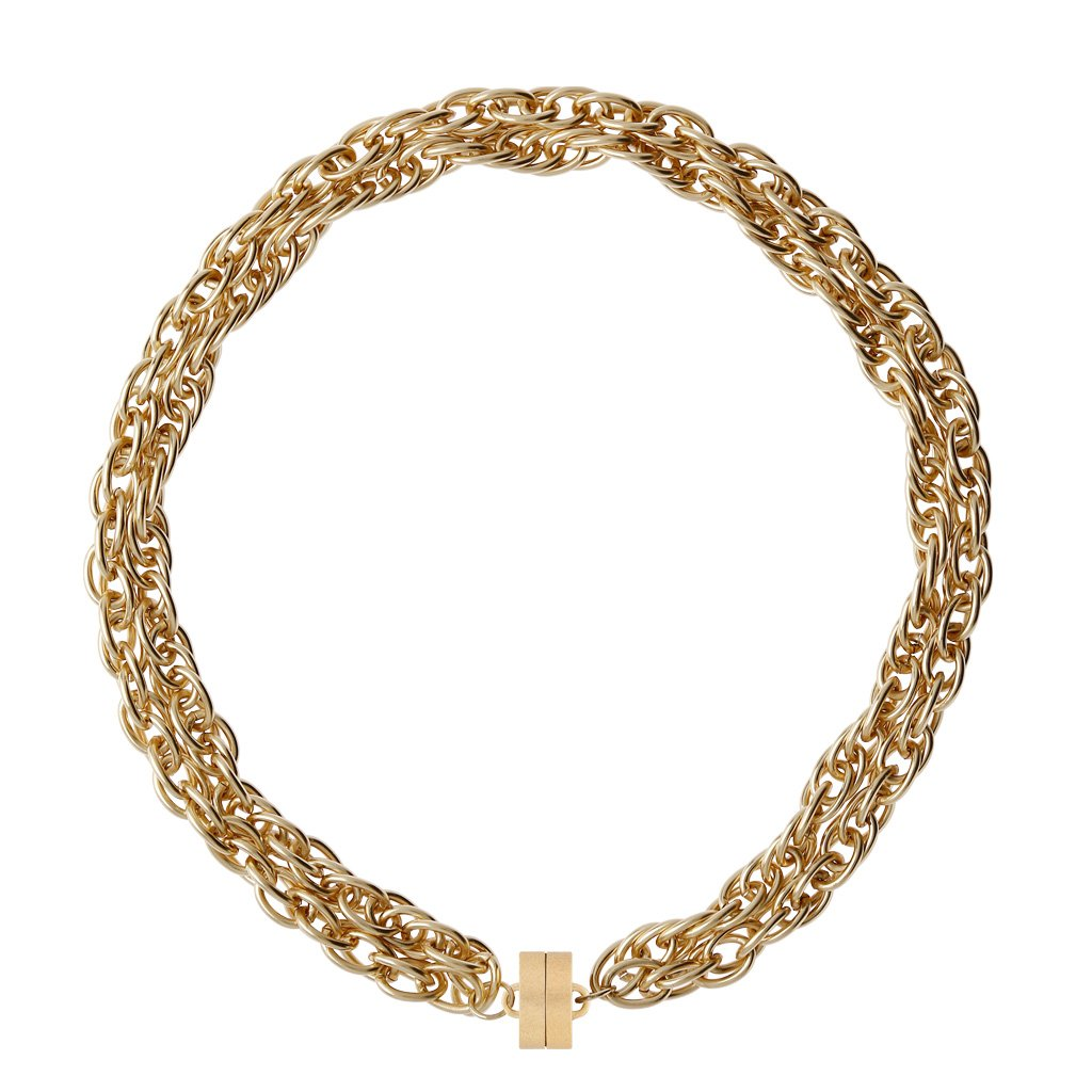 "CLARA WILLIAMS SHEFFIELD GOLD NECKLACE, 16.5"", STUDIO CLASP"